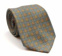 "Hermes Tie Mens Silk Neck Tie Bronze Geometric Pattern 56"" Long 3.25"" Wide"