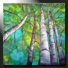 Original Painting Canvas Birches Summer Trees Contemporary Signed Art GeeBeeArt