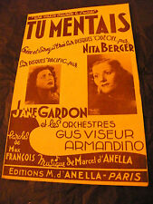 Partition Tu Mentais Nita Berger Jane Gardon Gus Viseur Armandino 1959
