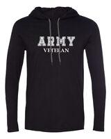 Mens Hooded Army Veteran Shirt Soldier Veteran US United States Tee Long Sleeve