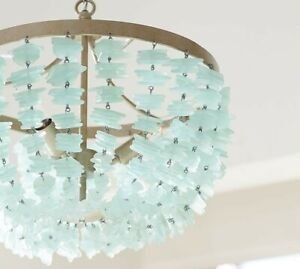 Pottery Barn enya seaglass chandelier. Sold-out chandelier with aqua seaglass,