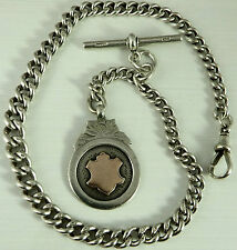 Antique silver albert pocket watch guard chain with gold and silver medal fob