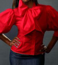 Spandex cotton Classic Bow top shirt Blouse YY001 RED PLUS size 1X  2X