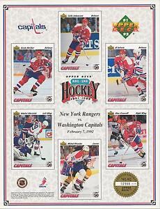 1992 UPPER DECK NHL Hockey Print WASHINGTON CAPITALS vs. NEW YORK RANGERS