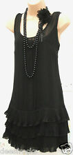 SIZE 8 20s CHARLESTON DECO FLAPPER STYLE FRILLED LINED BLACK DRESS ~ US 4 EU 36
