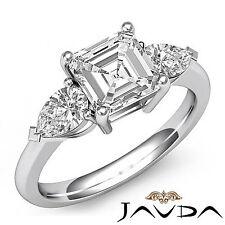 Women's 3 Stone Asscher Diamond Engagement Ring GIA I SI1 14k White Gold 1.5 ct
