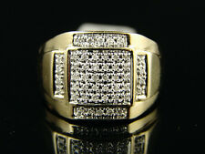 Mens Yellow Gold Pave Big Genuine Diamond Ring .45 Ctw
