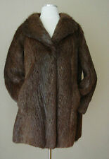 VINTAGE REAL FUR LINED JACKET COAT WRAP STOLE TOP
