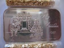 1-OZ .PURE 999 SILVER VINTAGE CHRISTMAS SANTA & FIREPLACE SCENE ART BAR + GOLD