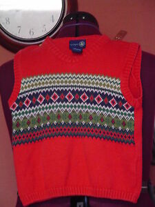 Boy's J Khaki Kids Size 5 Multi color VNeck Sweater Vest EUC