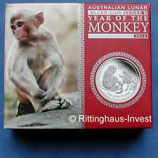Lunar II Affe Monkey PROOF Box COA  2016 polierte Platte BOX PP 0,5Oz halbe Unze