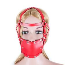 Bondage Slave Head Harness Mouth Open Red Leather strap 44mm Ball Gag Toy Fetish