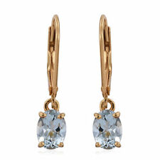 Espirito Santo Aquamarine Lever Back Earrings 14K Gold Overlay Sterling 1.50cts