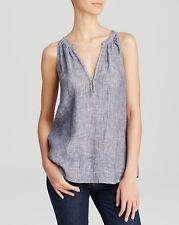 NWT- Joie Eniko G Crosshatch Sleeveless Linen Top, Dark Navy Blue - Size XSmall