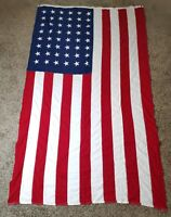 Rare Vintage Cotton 48 Star Ajax Paramount USA FLAG Sewn Stripe Double Sided 5x8