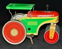 Blechspielzeug Dampfwalze Straßenwalze VEB Großräschen DDR, Uhrwerkantrieb