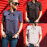 Women Summer Tee Short Sleeve Casual Blouse Loose Lip Chiffon Tops T-Shirt Shirt