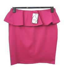 Oasis Pink Mini Skirt Size 12 Elastic Waist in Jersey Stretch Peplum