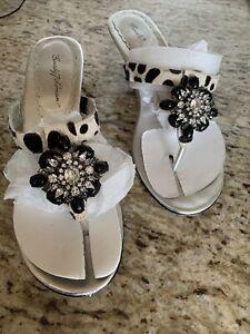 BEVERLY FELDMAN Jeweled Heeled Thong Sandals Size 9.5 Fancy GANACHE COW FUR BLK