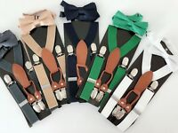 Boy Kid Children Party Costume Wedding Pants Suspender Brace Belt Clip Bowtie