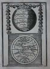 Original antique print GLOBE, WORLD MAP, CLIMATE ZONES, A.M. Mallet, 1683