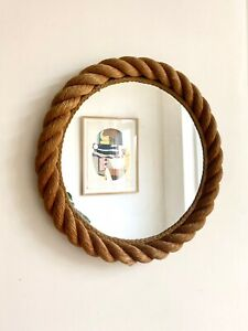 VINTAGE ROPE MIRROR by AUDOUX & MINET, FRANCE 1950-60. MID CENTURY FRENCH DESIGN