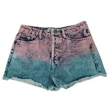 NWOT FB SISTER  Denim Tie Dye Shorts Pink Blue Buttons Distressed Shorts Size XS