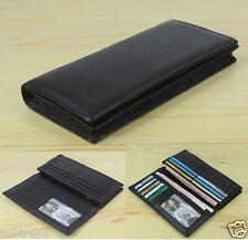 Fashion Genuine Leather Men's long wallet Clutch Bag Money Clips Bifold Black