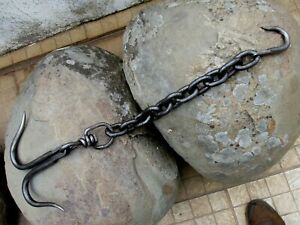 Antique in Iron Double Huge Hook With Chain Swivel Hanging Old Strong Farm Tool