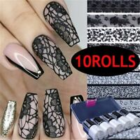 10rolls Foil Black White Lace Nail Sticker Holographic Transfer Decals Mix Style
