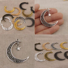 Lot 10/50 Hollow out Retro Moon Jewelry finding Charm Pendant connector 39x30mm