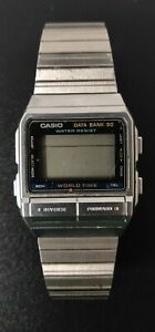 CASIO DB520 Mens Silver Data Bank 50 World Time Watch DB-520 for Parts or Repair