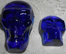 2X Blue Vaseline glass Gothic skull head uranium Halloween skeleton goblin ghost