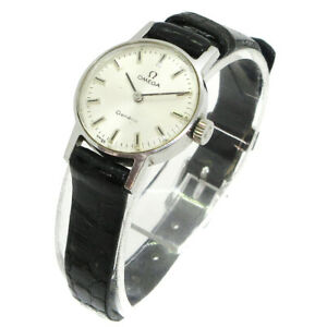 OMEGA Geneve Wristwatch Watch Ladies Silver Black Swiss Made 05406