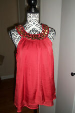 Adiva Orange Layered Tunic Tank Top/Blouse W/Beaded Neckline SZ LARGE EUC