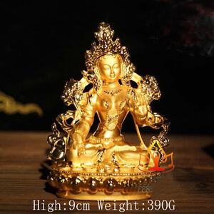 Tibet Tibetan Mikky Alloy Buddhism Buddhist Gild White Tara Buddha Statue 9CM