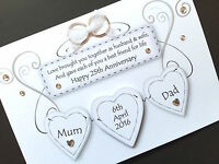 Hand-made personalised wedding Anniversary hearts card (request colours)
