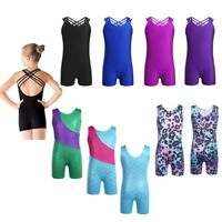 Kids Girls One Piece Gymnastic Leotard Unitard Glittery Ballet Dance Jumpsuit