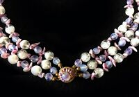 Haskell Lovely Lavender, Purple and Opaline Art Glass Multi-Strand Necklace