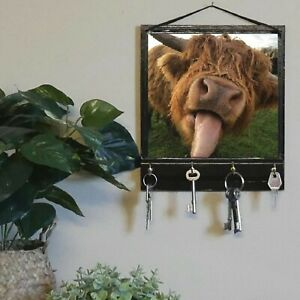 Cow Print Key Rack Holder, Entryway Organizer