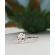 Solid 14k Rose Gold Oval 2.15 Ct White Brilliant Moissanite Engagement Ring