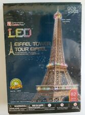 Cubic Fun LED 3D Puzzle L091h Eiffel Tower World Great Building Jigsaw 82 Pieces