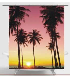 Palm Trees At Sunset Fabric Shower Curtain