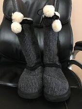UGG Australia Womens 5826 Classic Tall Wool Knit Striped Black Boots US 10 Gray
