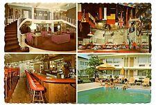 Ramada Inn Postcard Indiana Pool Flags Bar Hangar WWI Restaurant Hotel Vintage
