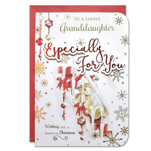 LOVELY GRANDDAUGHTER CHRISTMAS CARD ~ LARGE SIZE QUALITY CARD  CUTE DESIGN