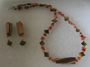 "22"" Handmade Wood  Tigers eye and Jasper Chip Bead necklace set"