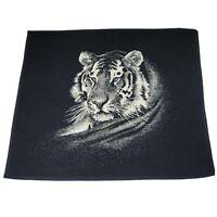 Vintage BIEDERLACK Tiger Head Reversible Throw Blanket Black Ivory White  53x46