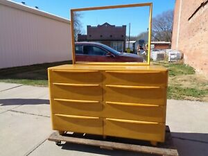 Heywood Wakefield Furniture bed frame and dresser with mirror wheat