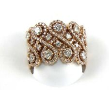 Wide Filigree Curve Diamond Cluster Ring Band 14k Rose Gold 2.19Ct